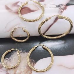 Orecchini cerchio grosso in acciaio oro liscio spessore 4 mm da donna