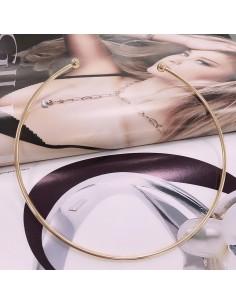 collana rigido aperto con viti filo rotonda 3 mm in ottone rodiato oro 18k fai da te