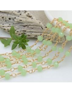 catena rosario cristalli colore verde giada 4 mm concatenata filo oro in ottone 50 cm per fai da te