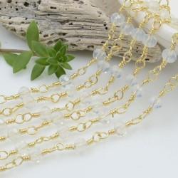 catena rosario cristalli colore opale 4 mm concatenata filo oro in ottone 50 cm per fai da te