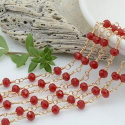 catena rosario cristalli colore rosso scuro 4 mm concatenata filo oro in ottone 50 cm per fai da te