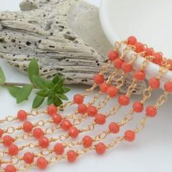 catena rosario cristalli colore salmone 4 mm concatenata filo oro in ottone 50 cm per fai da te