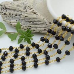 catena rosario cristalli colore nero 4 mm concatenata filo oro in ottone 50 cm per fai da te