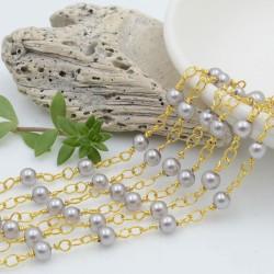 catena rosario con perle grigie 4 mm concatenata filo oro in ottone 50 cm per fai da te