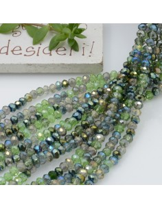 Filo cristallo Rondelle verde 2.5 x 3.5 mm briolette 125 a 145pz per le tue creazioni n 7