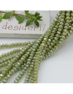 Filo cristallo Rondelle verde 2.5 x 3.5 mm briolette 125 a 145pz per le tue creazioni n 6