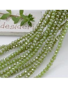 Filo cristallo Rondelle verde 2.5 x 3.5 mm briolette 125 a 145pz per le tue creazioni n 3