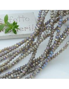 Filo cristallo Rondelle grigio AB 2.5 x 3.5 mm briolette 125 a 145pz per le tue creazioni n 47