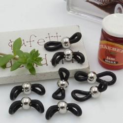 Gommini Terminali con pallina in acciaio connettori per catenelle occhiali 4 x 20 mm 10 pz argento silicone nero