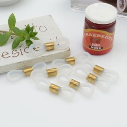Gommini Terminali con molla in acciaio connettori per catenelle occhiali 4 x 20 mm 10 pz oro silicone bianco