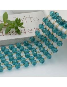 catena rosario con cristalli 3 x 4 mm 50 CM base oro in acciaio colore verde acqua per le tue creazioni !!!