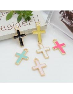 Ciondolo Charms croce smaltato 16.5 x 10 mm 2 pz base oro in ottone per fai da te per le tue creazioni!