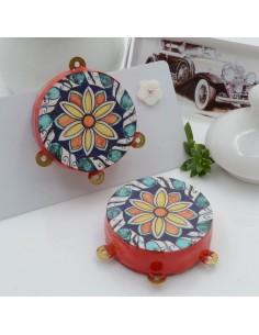 Ciondolo tamburelli siciliani 30 x 35 mm bordo rosso con disegno fiore 3 anellini per le tue creazioni!!!