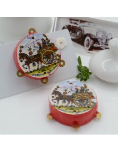 Ciondolo tamburelli siciliani 30 x 35 mm bordo rosso con disegno carrettino siciliano 3 anellini per le tue creazioni!!!