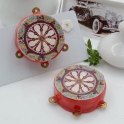 Ciondolo tamburelli siciliani 30 x 35 mm bordo rosso con disegno 3 anellini per le tue creazioni!!!