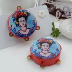 Ciondolo tamburelli siciliani 30 x 35 mm bordo rosso con disegno Frida Kahlo 3 anellini per le tue creazioni!!!