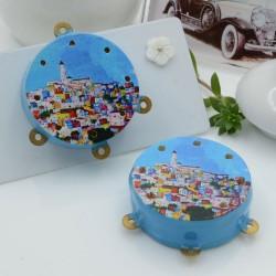 Ciondolo tamburelli siciliani 30 x 35 mm bordo azzurro con disegno paesino 3 anellini per le tue creazioni!!!