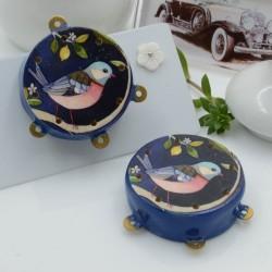 Ciondolo tamburelli siciliani 30 x 35 mm bordo blu con disegno uccellino 3 anellini per le tue creazioni!!!
