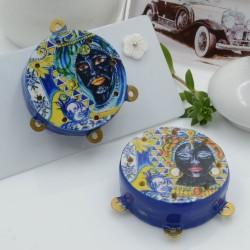Ciondolo tamburelli siciliani 30 x 35 mm bordo blu con disegno 3 anellini 1 coppia per le tue creazioni!!!
