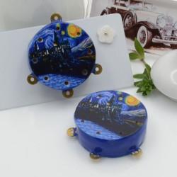 Ciondolo tamburelli siciliani 30 x 35 mm bordo blu con disegno Van Gogh 3 anellini per le tue creazioni!!!