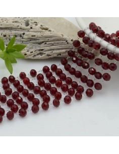 catena rosario con cristalli 3 x 4 mm 50 CM base argento in acciaio colore bordeaux trasparente per le tue creazioni !!!