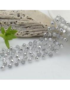 catena rosario con cristalli 3 x 4 mm 50 CM base argento in acciaio colore argento per le tue creazioni !!!