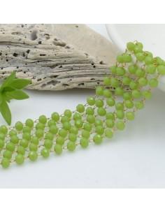 catena rosario con cristalli 2.5 x 3.5 mm 50 CM base oro in acciaio colore verde per le tue creazioni !!!