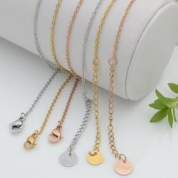 collana in acciaio Sottile Semplice 40 + 5 CM prolunga con maglia OVALE per le tue creazioni
