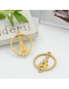 Connettori in acciaio colore oro con Tour Eiffel 19 x 15 mm per le tue creazioni!!!