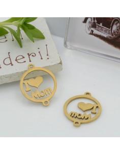 Connettori in acciaio colore oro con scritta I love Mom 19 x 15 mm per le tue creazioni!!!