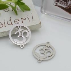 Connettori in acciaio inossidabile colore argento con OM yoga 19.5 x 15 mm per le tue creazioni!!!