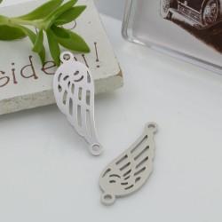 Connettori in acciaio inossidabile colore argento a forma di ala 27 x 10 mm per le tue creazioni!!!