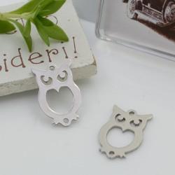 Connettori in acciaio inossidabile colore argento a forma di gufo 18.5 x 11.5 mm per le tue creazioni!!!