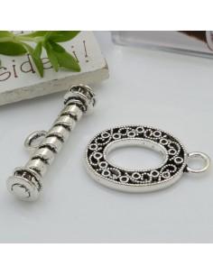 Chiusure T in zama con fantasia con anello 38 x 35 mm per collane e bracciali per gioielli fai da te