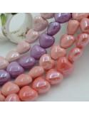 Perle a forma di cuore bombato in ceramica luminosa e smaltata 15 x 17.5 mm 1 filo 22 pz
