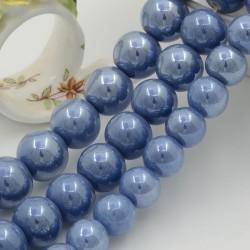 Perle tonde in ceramica luminosa e smaltata colore avio chiaro varie misure per bijoux fai da te!!!