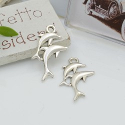Ciondoli Charms pendente a forma di delfini 28 x 17.5 mm 7 pz per le tue creazioni!!!