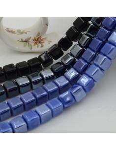Perle in ceramica a forma di cubo luminosa e smaltata 8 mm 1 filo 40 pz per bijoux fai da te!!!