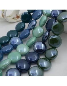 Perle in ceramica a forma di tondo-bottone mezzo bombato luminosa e smaltata 20 mm 1 filo 17 pz per bijoux fai da te!!!