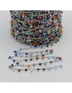 Catena Rosario con perline indiane 2 mm base argento colore mix 50cm per le tue creazioni!