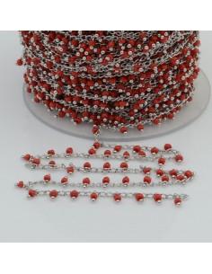 Catena Rosario con perline indiane 2 mm base argento colore rosso 50cm per le tue creazioni!
