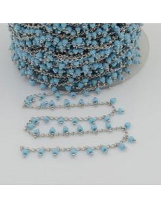 Catena Rosario con perline indiane 2 mm base argento colore turchese 50cm per le tue creazioni!