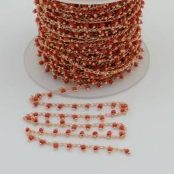 Catena Rosario con perline indiane 2 mm base oro chiaro colore rosso 50cm per le tue creazioni!