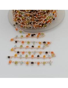 Catena Rosario con perline indiane 2 mm base oro chiaro colore mix 50cm per le tue creazioni!