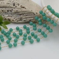 Catena rosario con cristalli 3 x 4 mm 50 CM base oro in acciaio colore verde tiffany per le tue creazioni!!!