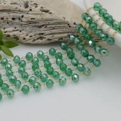 Catena rosario con cristalli 3 x 4 mm 50 CM base oro in acciaio colore verde AB per le tue creazioni!!!
