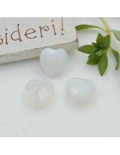 Pietre dure a forma di cuore opale opaco sfaccettata 10 mm 2 pz per orecchini bracciali collana per le tue creazioni!!!