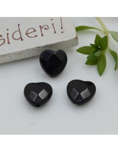 Pietre dure a forma di cuore onice sfaccettata 10 mm 2 pz per orecchini bracciali collana per le tue creazioni!!!