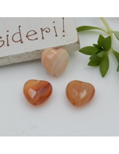 Pietre dure a forma di cuore corniola sfaccettata 10 mm 2 pz per orecchini bracciali collana per le tue creazioni!!!