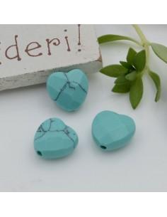 Pietre dure a forma di cuore turchese sfaccettata 10 mm 2 pz per orecchini bracciali collana per le tue creazioni!!!
